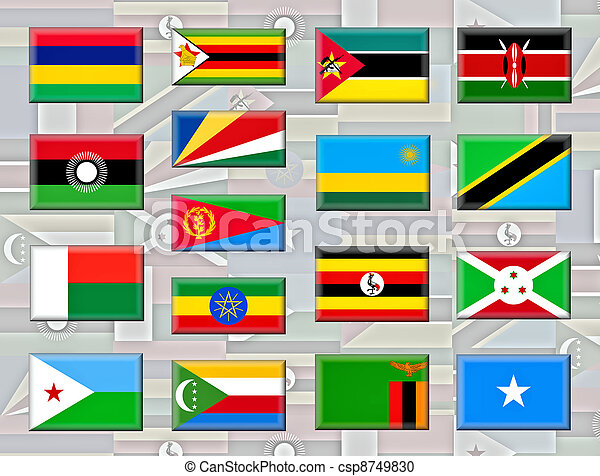 Flags Of Eastern African Countries. East Africa Is The Easterly Region Of  The African Continent.