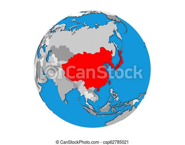 East Asia on 3D globe isolated - csp62785021