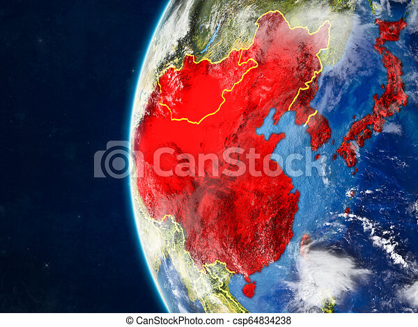 East Asia on globe from space - csp64834238