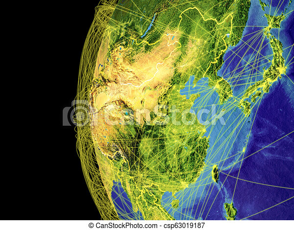 East Asia on globe from space - csp63019187