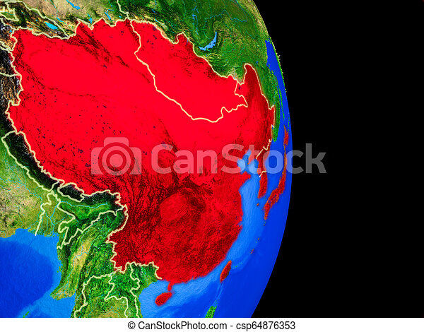 East Asia on globe from space - csp64876353