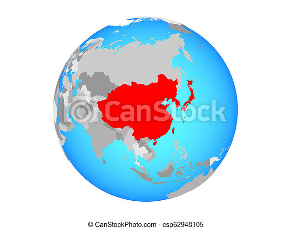 East Asia on globe isolated - csp62948105