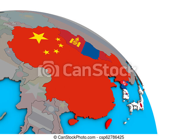 East Asia with flags on 3D globe - csp62786425