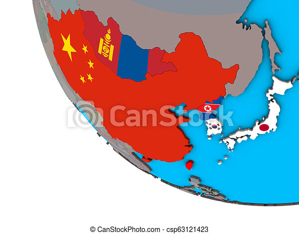 East Asia with flags on 3D globe - csp63121423
