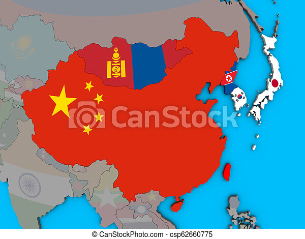 East Asia with flags on 3D map