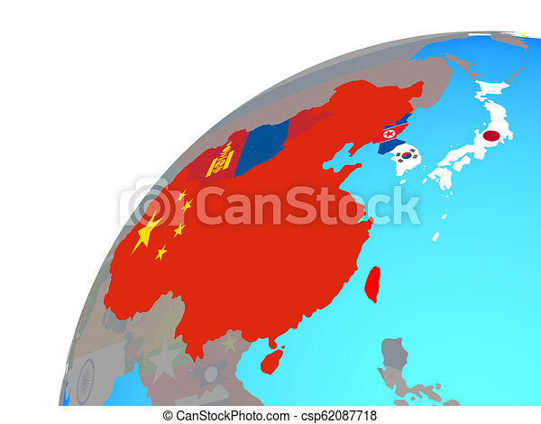 East Asia with flags on globe - csp62087718