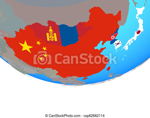 East Asia with flags on globe - csp62662114