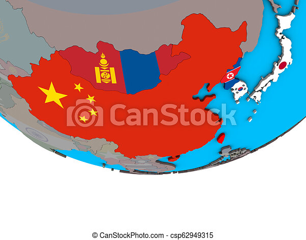 East Asia with flags on globe - csp62949315