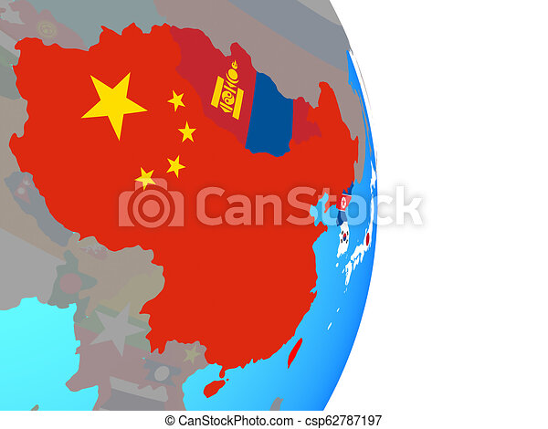 East Asia with flags on globe - csp62787197