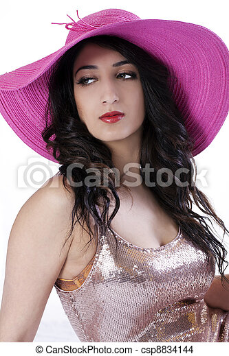 East Indian  Woman in Large Hat - csp8834144