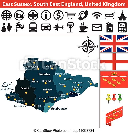 Map Of The South Of England Uk.East Sussex South East England Uk