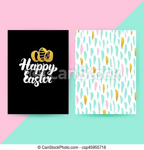 Easter 80s Funky Style Posters - csp45955716