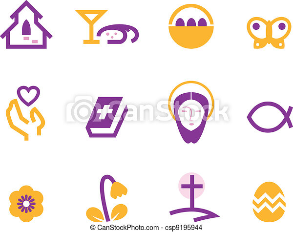 Easter and christianity icon set isolated on white ( purple ) - csp9195944