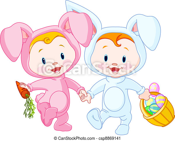 Two Cute Easter Babies Bunnies Holding Hands