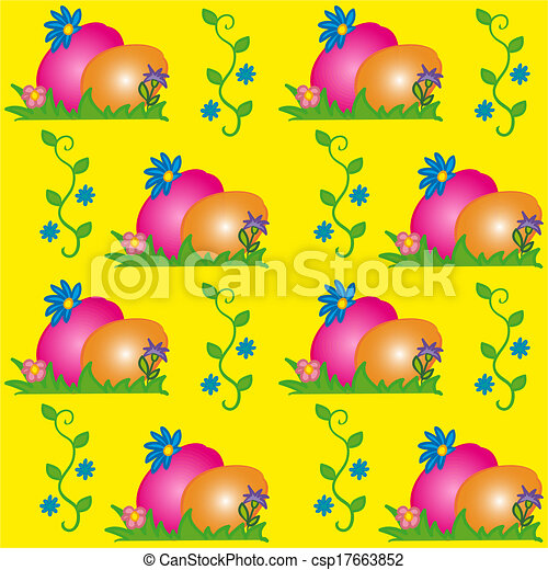 Easter Background Texture With Eggs And Traditional Easter Symbols