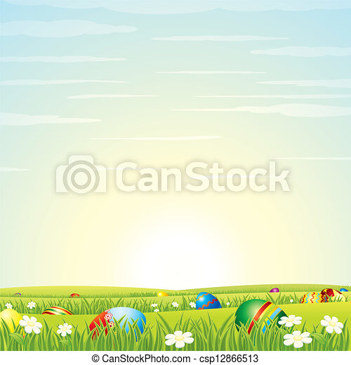 Easter Background. Eggs in Green Grass. Vector - csp12866513
