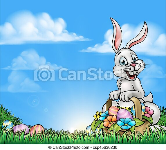 Easter Background with Bunny and Eggs - csp45636238