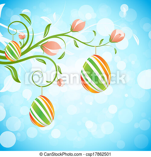 Easter Background With Decorated Eggs And Flowers