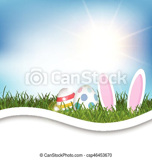 easter background with eggs and bunny ears in grass 0304 - csp46453670