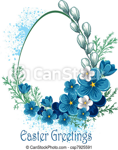 Easter banner with spring flowers - csp7925591