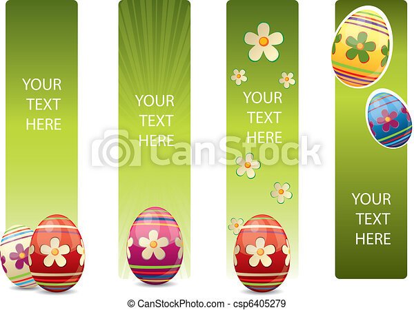 Easter banners with colorful Easter eggs - csp6405279
