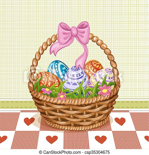 Easter Basket With Eggs Easter Basket With Color Painted