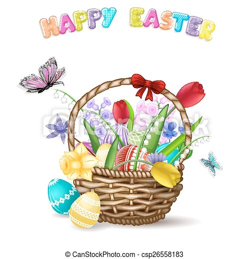 Easter basket with spring flowers vector search clip art easter basket with spring flowers csp26558183 mightylinksfo