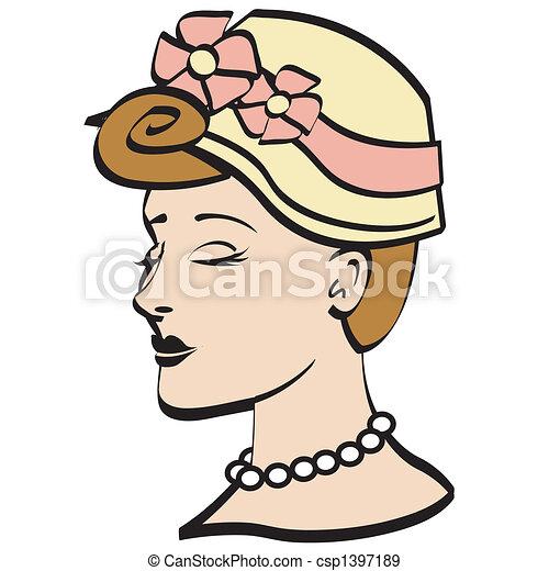 easter bonnet 1950s woman clip art easter bonnet worn by a eps rh canstockphoto com 1960s clipart 1950s clip art free
