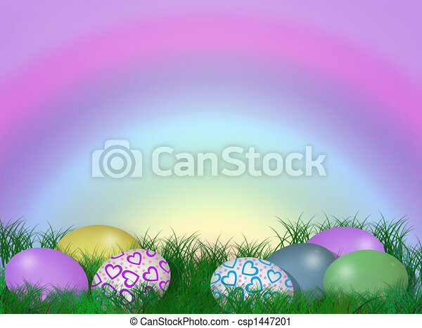 Easter Border Eggs In Grass Stock Illustration
