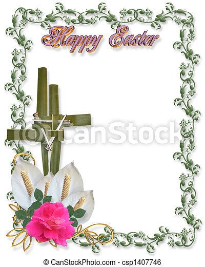 Easter Border Religious Cross symbo - csp1407746