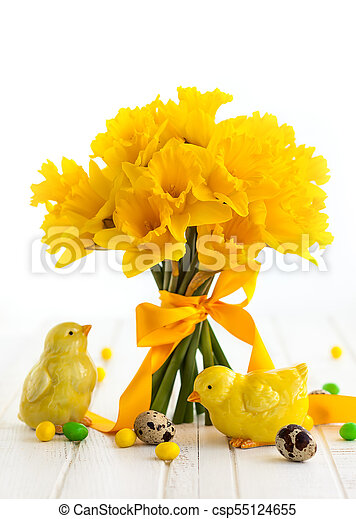Easter Bouquet Of Yellow Daffodils And Easter Decor Easter Bouquet Of Yellow Daffodils With Ribbon And Easter Decor On White Canstock