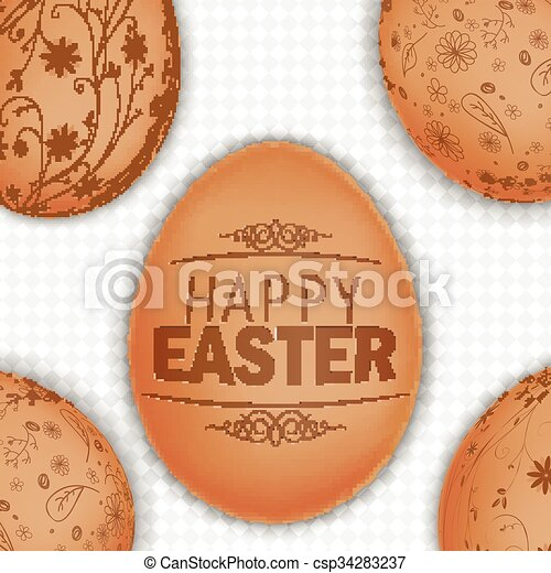 Easter brown eggs background - csp34283237