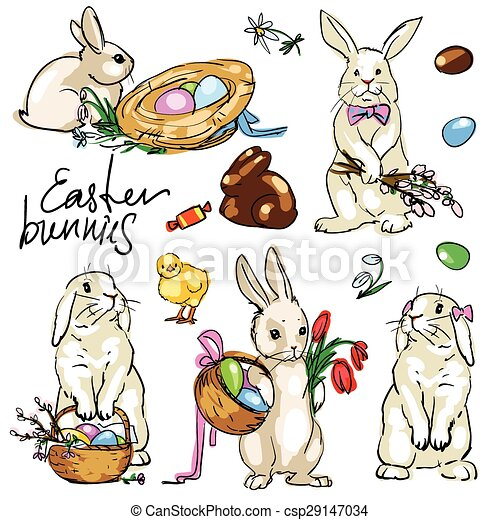 Easter Bunnies Collection. - csp29147034