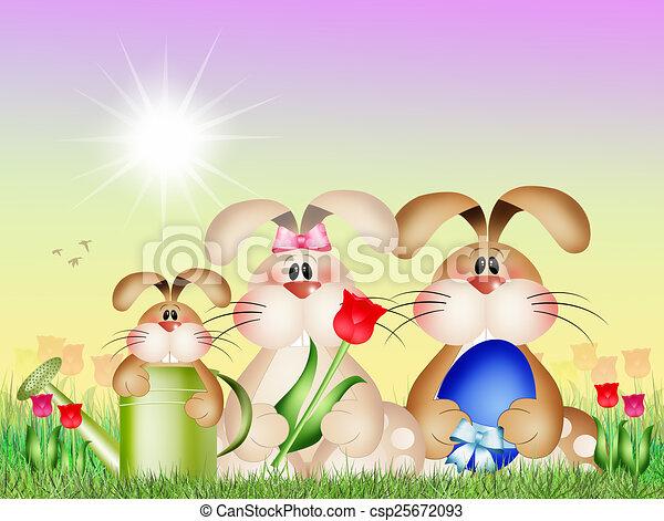 Easter bunnies - csp25672093