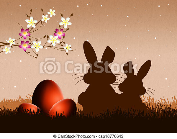 Easter bunnies silhouette - csp18776643