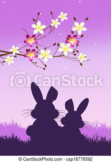 Easter bunnies silhouette - csp18776592
