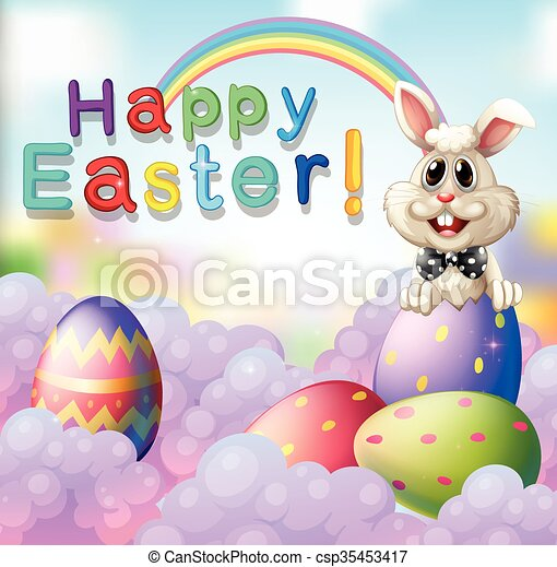 Easter bunny and decorated eggs - csp35453417