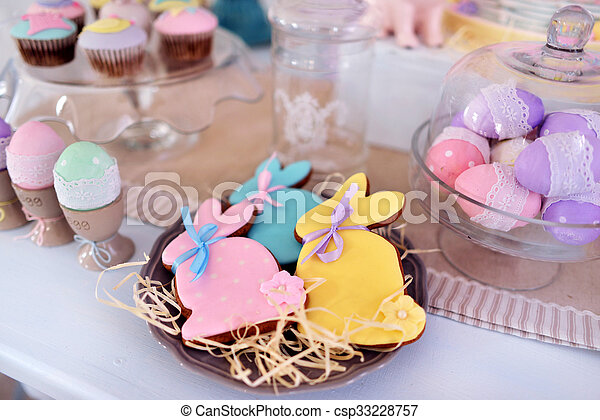 Easter bunny and decoration - csp33228757
