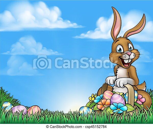 Easter Bunny and Eggs Background - csp45152784