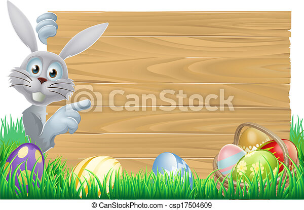 Easter bunny and eggs basket sign - csp17504609