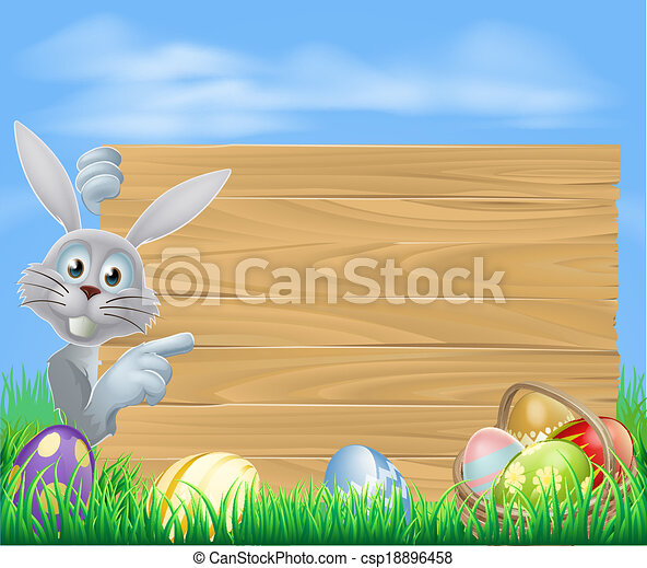 Easter bunny and sign - csp18896458