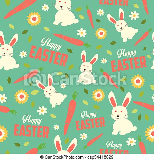 Easter Bunny and Spring Wallpaper Seamless Pattern Background - csp54418629