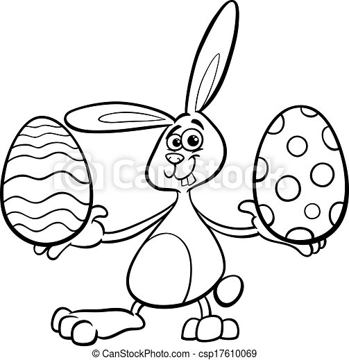 Easter Bunny Cartoon Coloring Page Vector