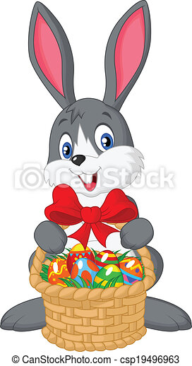 Easter bunny cartoon with bucket of - csp19496963