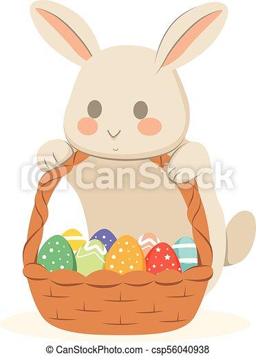 Easter Bunny Chocolate Eggs Basket - csp56040938