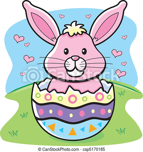Easter Bunny A Cartoon In Decorated Egg Clipart