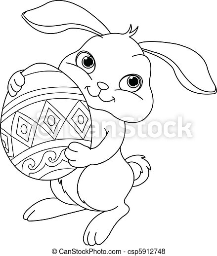 Easter bunny. Coloring page - csp5912748