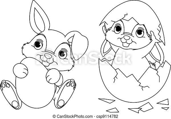 Black and white easter bunny coloring page vector illustration ...
