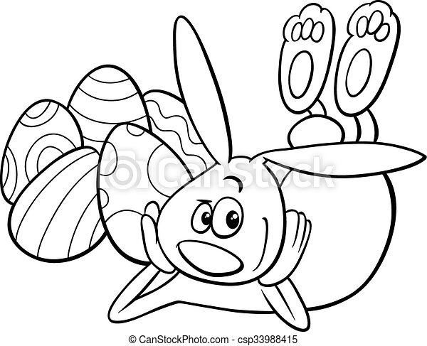 Easter bunny coloring page. Black and white cartoon... vector clip ...