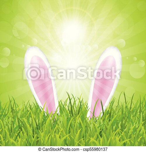 easter bunny ears nestled in grass 1603 - csp55980137